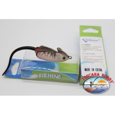 Artificial MOUSE rubber. 11cm(with tail)-11gr. dark grey striped.FC.AR94