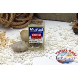 1 box 50 pcs Mustad, cod.220N, n.2, All Round hook FC.B1N