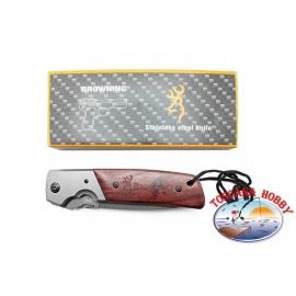 Messer Browning edelstahl und griff aus holz.FC.W05