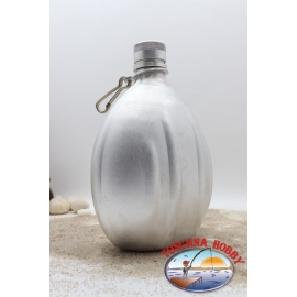 Botella de agua de 1 lt de aluminio con tapa de plata CL.76