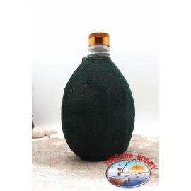 Drinking bottle 0.75 l, aluminium, sheath green with zipper closure, cap gold