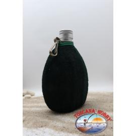 Beber de la botella de 0,5 l, aluminio, bolsa, color verde, con cierre de cremallera, tapa roja CL.79