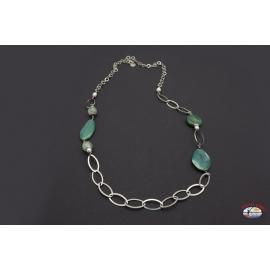 Halskette silber 925 Heilig-Geist-Schmuck achat grün-und perlen-fluss
