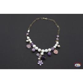 Halskette silber 925 Heilig-Geist-Schmuck onyx weiß und amethyst