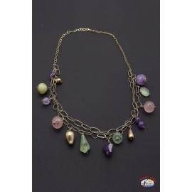 Necklace silver 925 Holy Spirit Jewelry rose quartz, amethyst and citrine quartz
