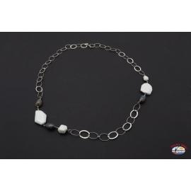 Halskette silber 925 Heilig-Geist-Schmuck onyx und weißen achat grau