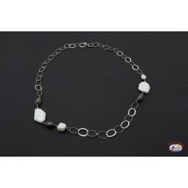 Necklace silver 925 Holy Spirit Jewels onyx, white and grey agate