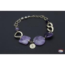 Collar de plata 925 Espíritu Santo de la Joyería con amatista y perlas de río