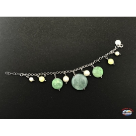 Pulsera de plata 925 Espíritu Santo de la Joyería con citrino cuarzo, ágatas verdes y perlas de agua dulce