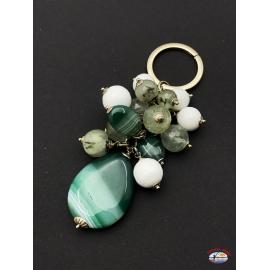 Porte-clés arg. 925 Esprit Saint Bijoux, agate, onyx, quartz