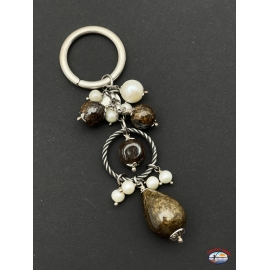 Llavero de plata de ley 925 Espíritu Santo de la Joyería con cornalina y perlas de agua dulce