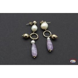 Aretes de plata 925 con amatista y perlas de río