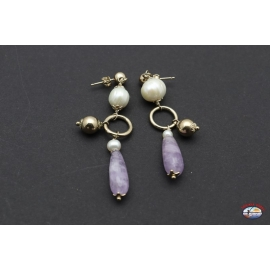 Ohrringe silber 925 mit amethyst und perlen fluss