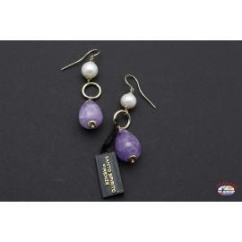 Boucles d'oreilles en argent 925 avec améthyste et de la rivière des perles