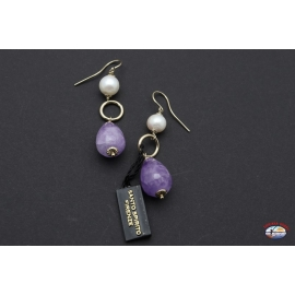 Earrings silver 925 with amethyst and river pearls