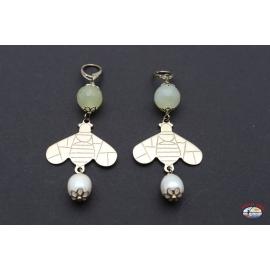 Boucles d'oreilles arg. 925 avec quartz citrine et de la rivière des perles