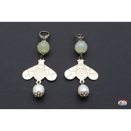 Earrings arg. 925 with quartz citrine and river pearls