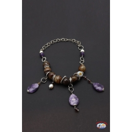 Necklace arg. 925 Holy Spirit Jewelry river pearls, amethyst, carnelian
