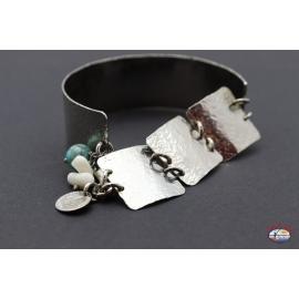 Bracelet semi-rigide en argent 925 Esprit Saint de Bijoux avec des pierres semi-précieuses et d'onyx, blanc