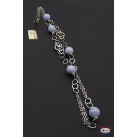 Necklace 925 sterling silver Makuti, with chalcedony blue
