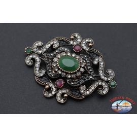 Broche ou pendentif pour collier de style rétro en métal bronze avec des cristaux et des pierres