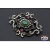 Brooch or pendant for necklace retro style metal bronze with crystals and stones