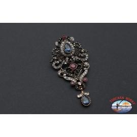 Broche ou pendentif style rétro collier en métal doré avec cristaux et de pierres