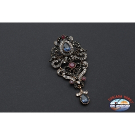 Brooch or pendant style retro necklace in gilded metal with crystals and stones
