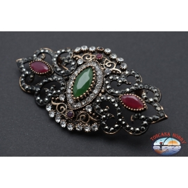 Pin retro style metal bronze with crystals and stones