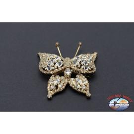 Broche Vintage en métal doré avec cristaux en forme de papillon