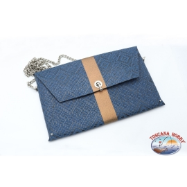 Pochette Ohmai Italy - Reversible - Blue and brown or blue and black leopard-print