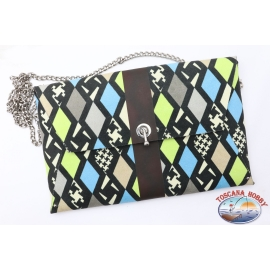 Pochette Ohmai Italy - Reversible - Blue and brown or patterned tones blue yellow