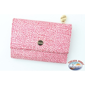 Wallet Borbonese fancy red with button closure and zipper