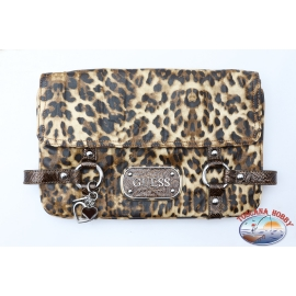 Pochette Guess leopardata con charm cuori in metallo