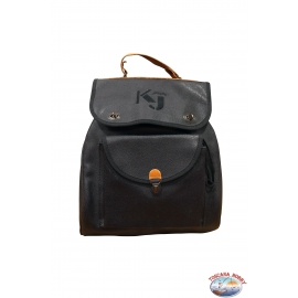 Backpack KJ black with brown leather trims and adjustable straps
