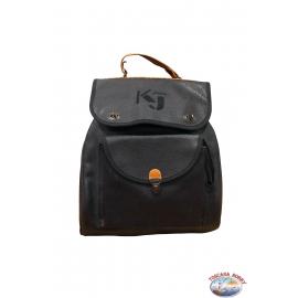 Mochila KJ negro con adornos de cuero marrón y correas ajustables