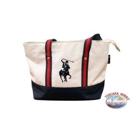 Bolso de mano de Greenwich Club de Polo azul y blanco de la apertura con cremallera