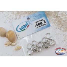 Attacchi rapidi pesca, Split Ring Colibrì, 9 mm, pz 15, CB368