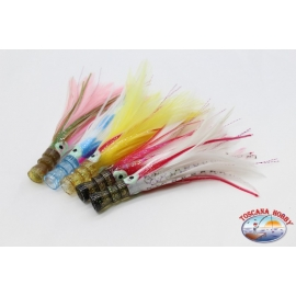 Trolling lures: kalice octopus+feather+brill 12 cm Handmade head-Preview