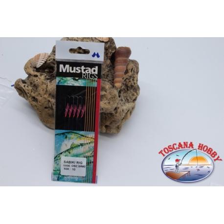 Sabiki Mustad rosa filo 0,30 lunghezza 135cm 5 ami mis.10 FC.A103