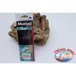 Sabiki Mustad con pelle di pesce filo 0,30 lunghezza 135cm 5 ami mis.10 FC.A107