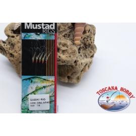 Sabiki Mustad con pelle di pesce filo 0,30 lunghezza 135cm 5 ami mis.14 FC.A109