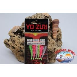 Sabiki Yo-zuri con pelle di pesce filo 0,35 lunghezza 135cm 5 ami mis.8 FC.A111