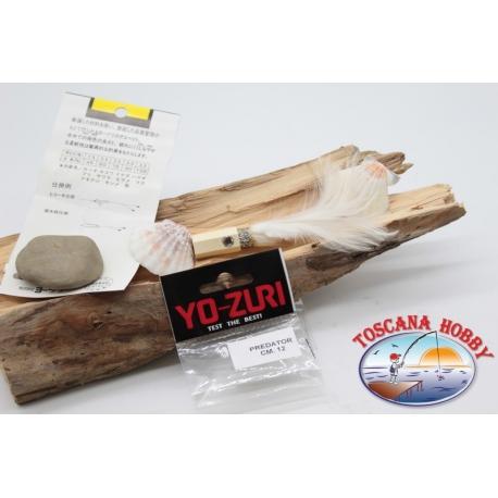 Cabeza emplumada con saltones ojos de Yo-zuri depredador 12 cm col. blanca FC.P127