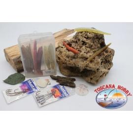 Caja surtido con 18 gusanos de silicona de Yo-zuri 11 cm con 2 paquetes de Mustad FC.C3