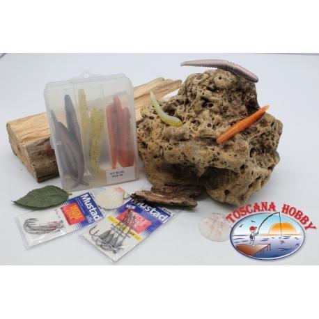 Caja surtido con 18 gusanos de silicona de Yo-zuri 11 cm con 2 paquetes de Mustad FC.C6