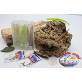 Caja surtido con 18 gusanos de silicona de Yo-zuri 11 cm con 2 paquetes de Mustad FC.C7
