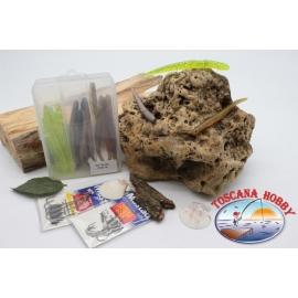 Caja surtido con 11 gusanos de silicona de Yo-zuri 15 cm con 2 paquetes de Mustad FC.S40