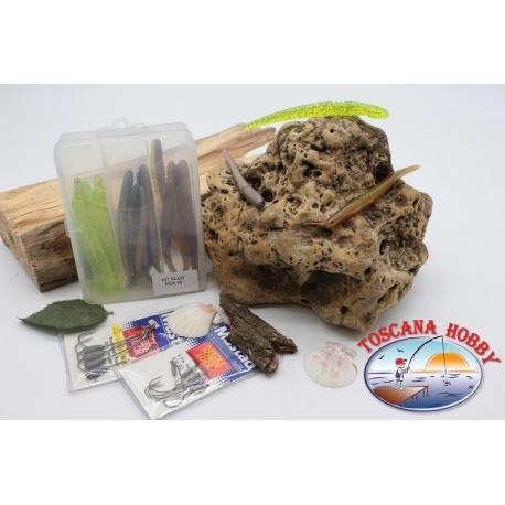 Caja surtido con 11 gusanos de silicona de Yo-zuri 15 cm con 2 paquetes de Mustad FC.C9