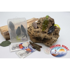 Box assorted with frogs and mice silicone Yo-zuri 14cm + Mustad FC.S41